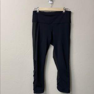 Lululemon black crop mesh pants size 8